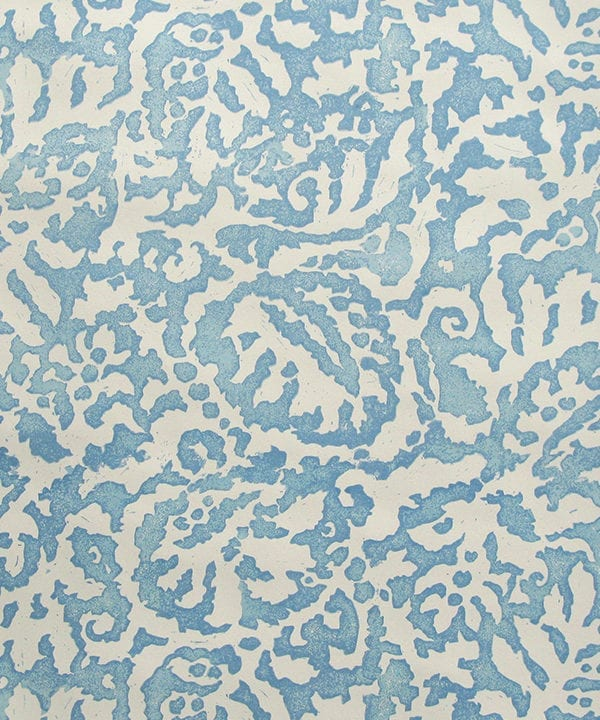 Italianate pale blue wallpaper detail from the 'Majolica' range available through Telescope Style.