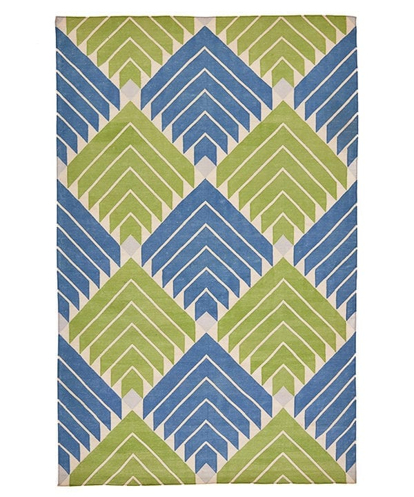 A flèche diamond design dhurrie rug in lime green and sky blue.