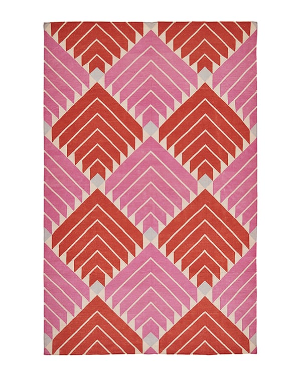 Pink flat weave rug with diamond design in scarlet and bubblegum, handmade in India.