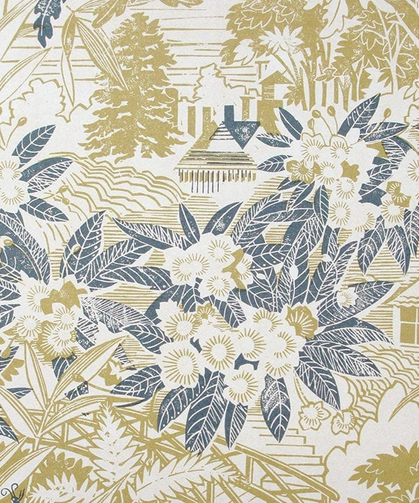 Botanical wallpaper in chartreuse and blue in the Arts & Crafts style, available through Telescope Style.
