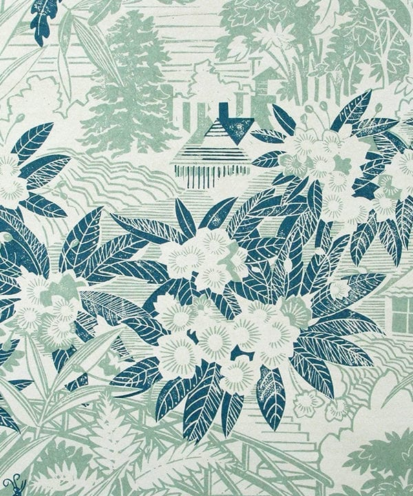 Detail of Webb's Wonder blue floral wallpaper in the 'Delft' colourway.