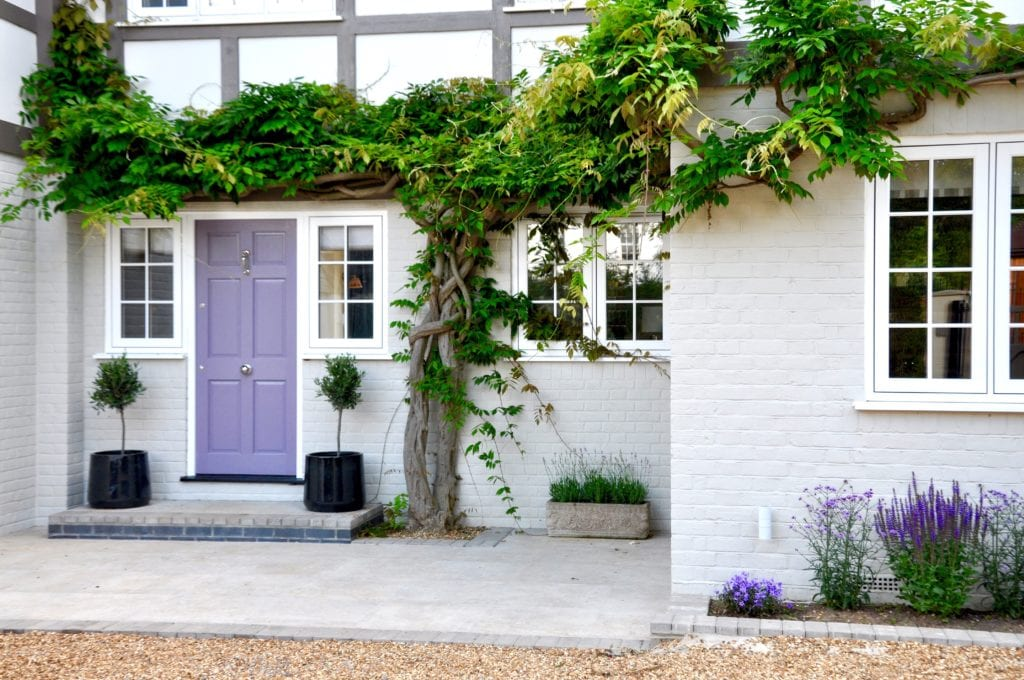 A wisteria-clad proerty frontage with painted cream brickwork and mauve front door.