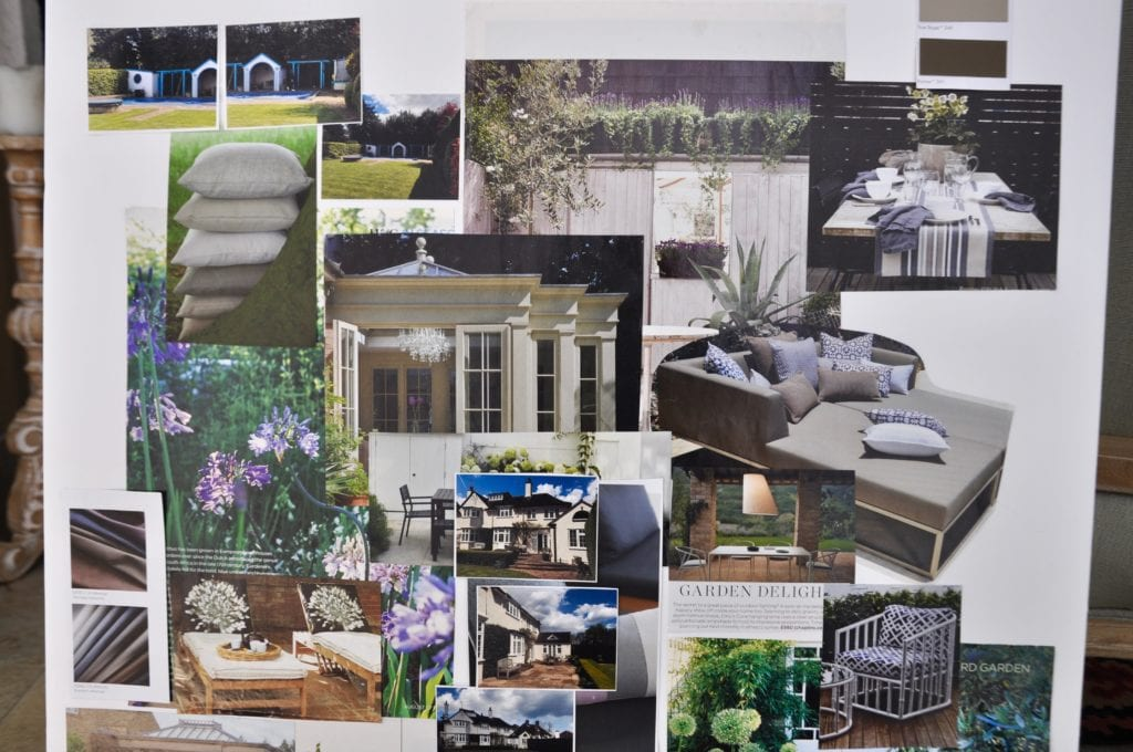 A project concept board featuring exterior elements.