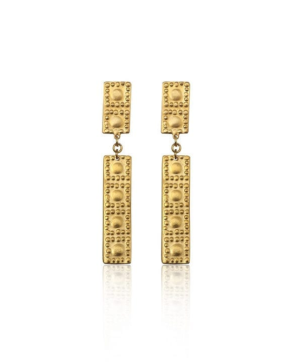 A pair of gold-bar drop earrings inspired by ancient Greek heritage from Telescope Style.