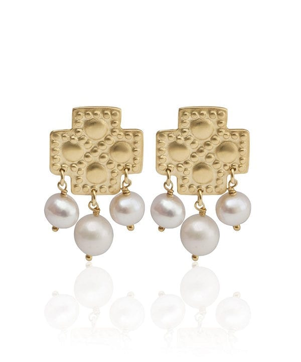 Greek gold plated, cross earrings with freshwater pearl drops inspired by Greek heritage designs from Telescope Style.