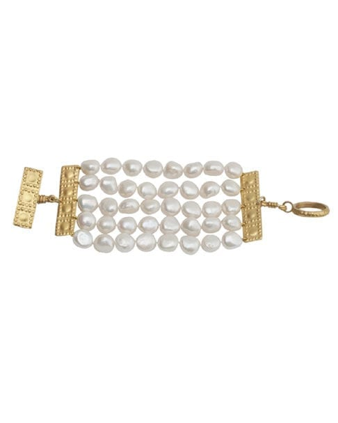 Pearl bracelet with gold inspired by ancient Greek heritage from Telescope Style.