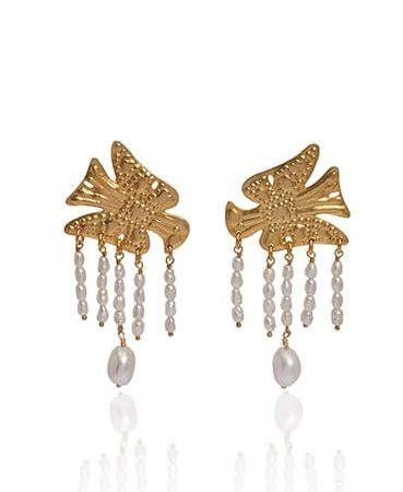 Gold and pearl earrings depicting the Greek eagle in gold with delicate pearl droplets.