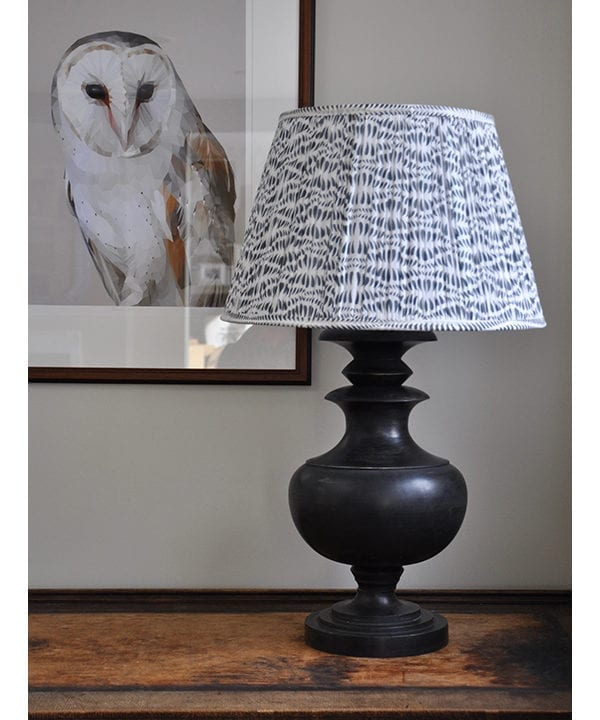 An elegant grey patterned lampshade in block-printed cotton voile.