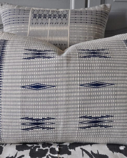 Close-up of blue grey hand-woven cushion covers from Nagaland in North-Eastern India available through Telescope Style.