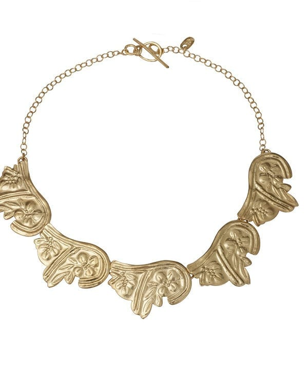 Statement gold necklace inspired by traditional Greek mythology. Available through Telescope Style.