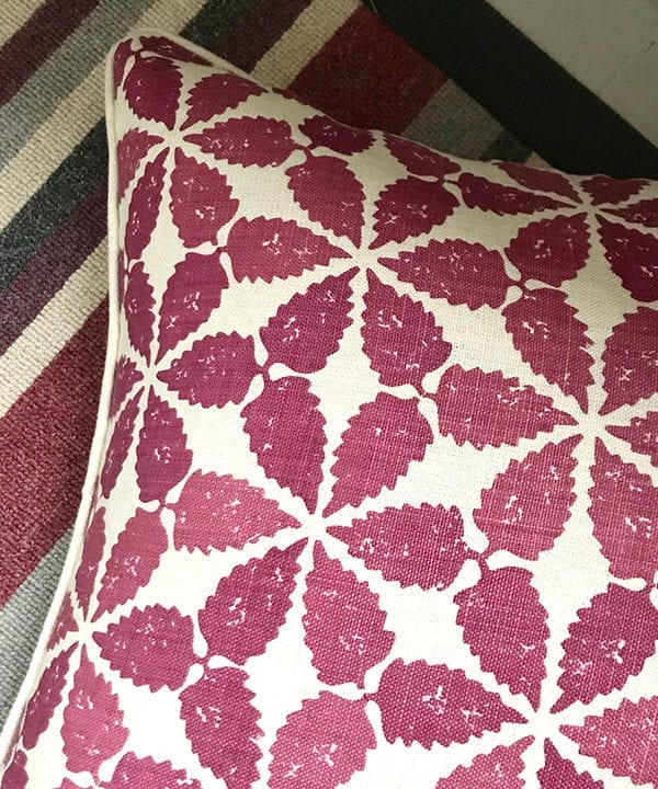 Cranberry red patterned cushion detail, Telescope Style.