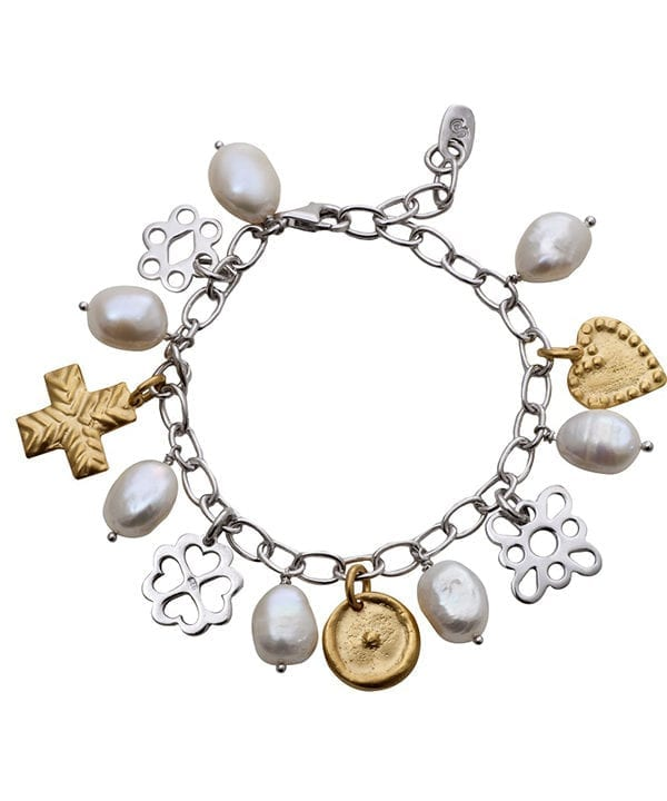 A charm bracelet in gold, silver and pearl with ancient Greek heritage styling, available through Telescope Style.