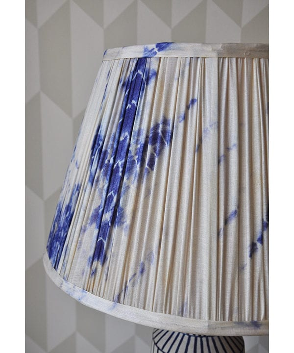 A detail of the Shibori silk Japanese style gathered silk lampshades in indigo.