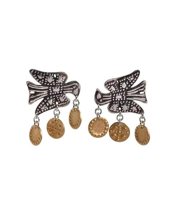 Gold and silver earrings handmade in Greece depicting the Greek eagle from Telescope Style.