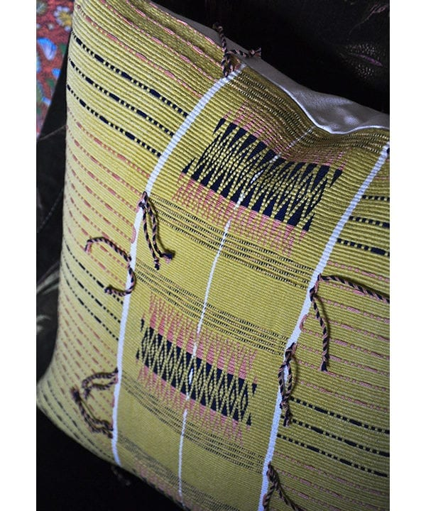 Acid yellow cushion, handwoven in Nagaland in India for Telescope Style.