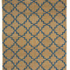 A jali-screen inspired sand and blue dhurrie rug from Telescope Style.