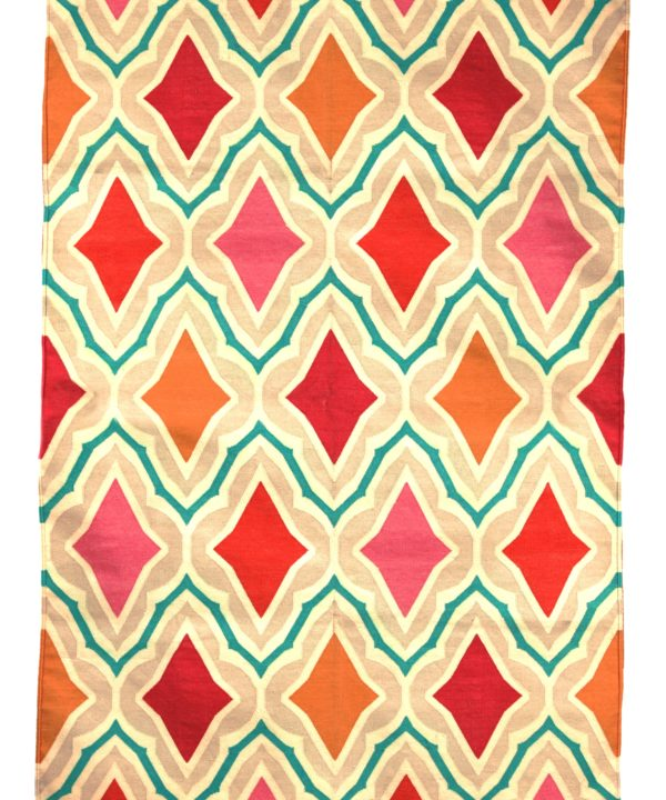 A vibrant diamond motif Indian dhurrie rug in orange, bubblegum pink and poppy red.