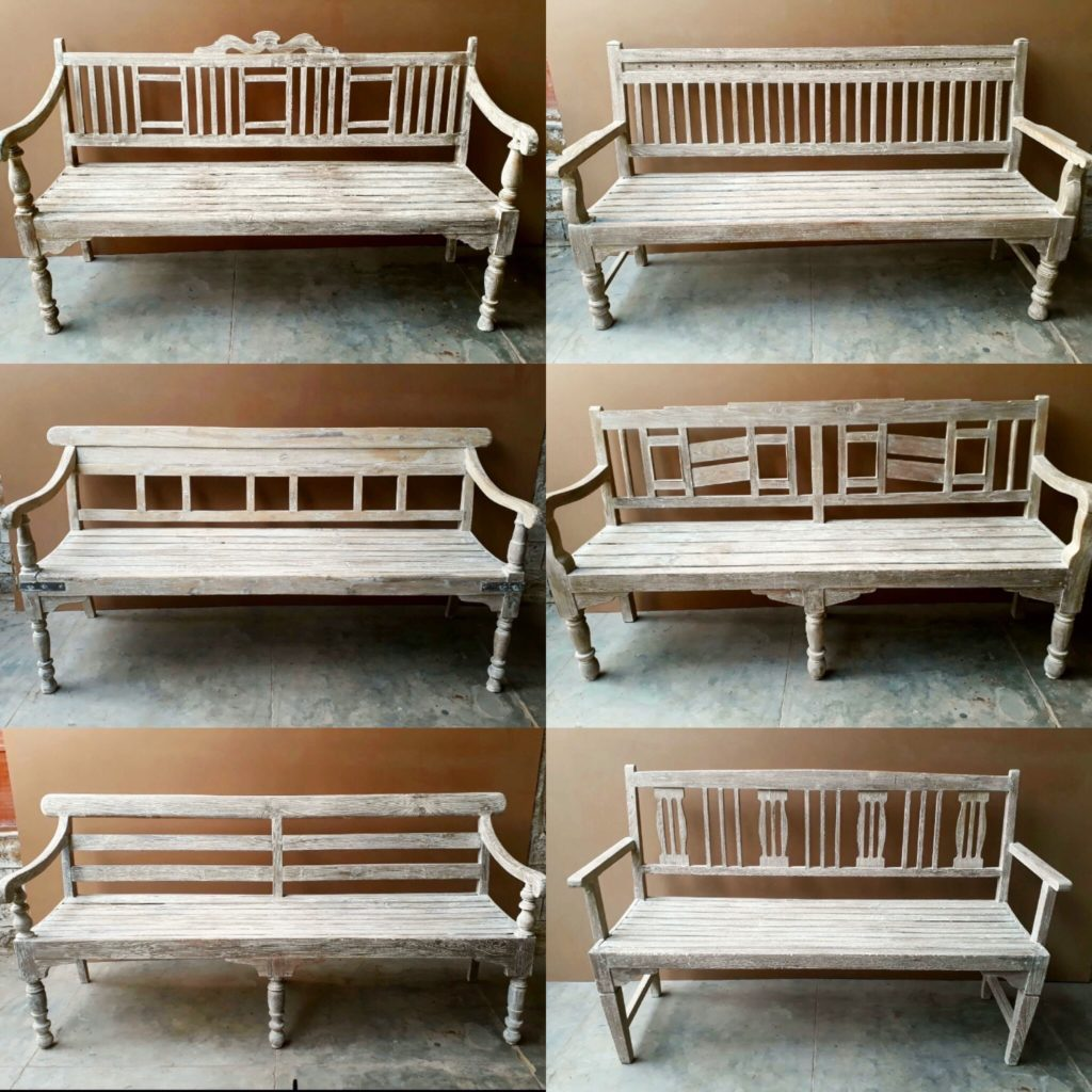 A selection of weathered, teak, Indian benches available through Mahout Lifestyle.