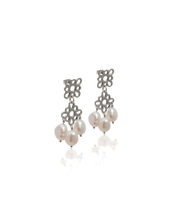 Pearl drop earrings in silver with Greek motif.