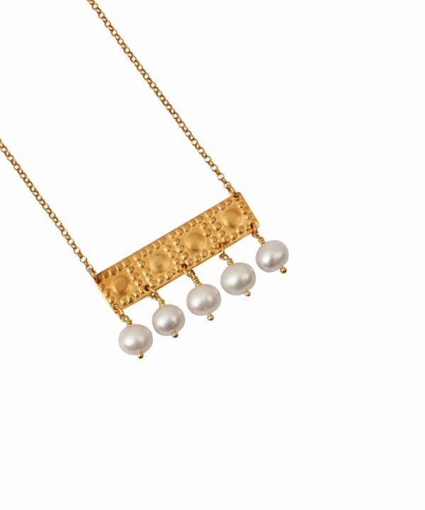 An elegant, ancient Greek jewellery style necklace in gold-plated silver and pearl with gold chain.
