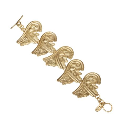 Ancient Greek style gold-plated silver bracelet with traditional Greek motifs.
