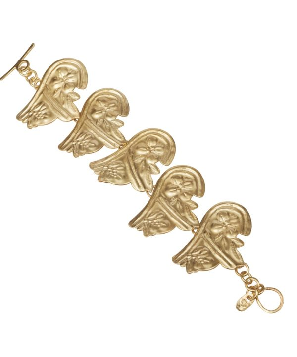 An ancient Greek style gold-plated silver bracelet with traditional Greek motifs.