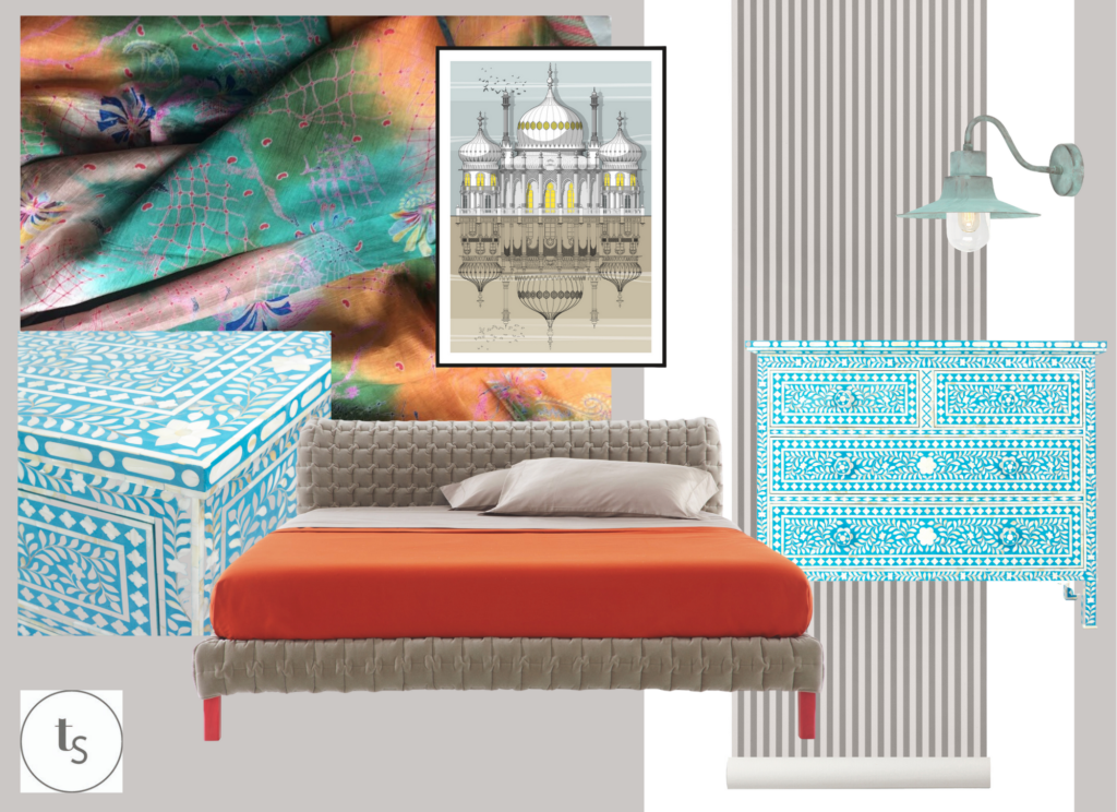 A modern Indian style bedroom scheme from Telescope Style's Room Style Directions series.