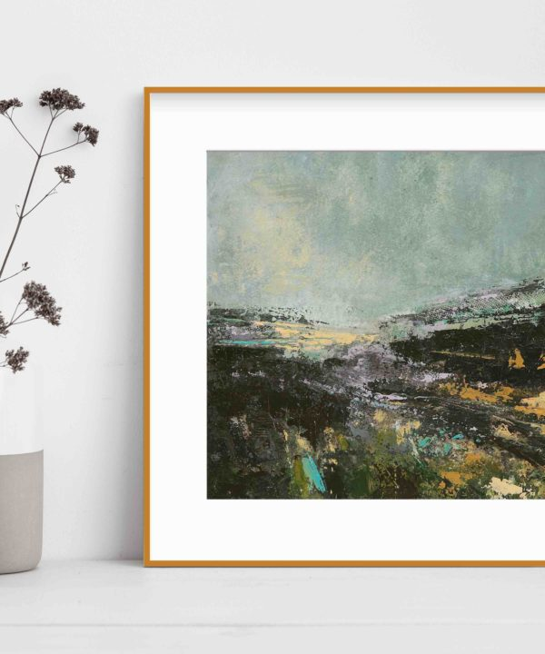 Irish landscape print taken from an original painting entitled Sea Lavender, next to earthenware pots displaying dried meadow flowers.