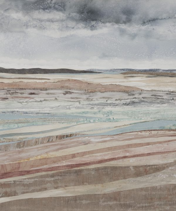 Coastal wall art print of an original mixed media collage entitled Dunes At Murlough Bay by Northern Irish artist Emma Tweedie.