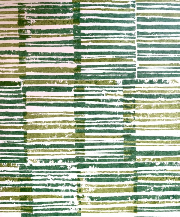 Detail of Japanese design wallpaper in Midori green.