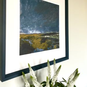 A close-up of the 'Moody Skies' Northern Irish landscape art print by Emma Tweedie.