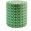 A small, patterned green pouffe with African geometric fabric upholstery.