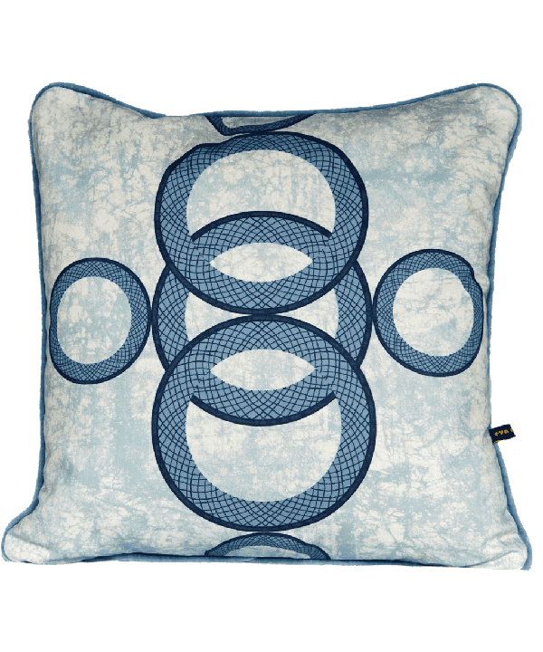 Geometric cushion covers in pale blue with circles motif.