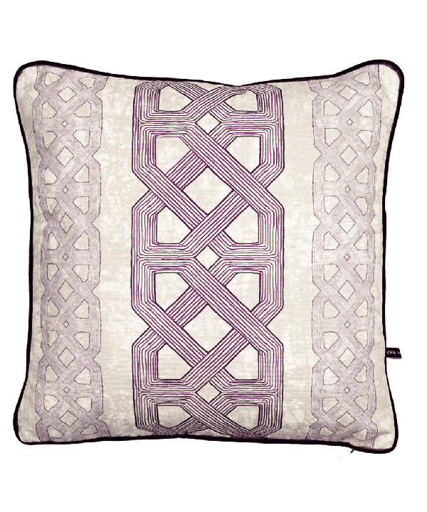 Purple lattice print African tribal cushion.