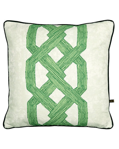 Vibrant green cushions covers with an African, architectural motif.