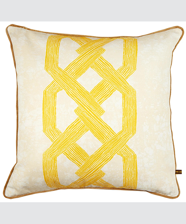 Bold yellow cushion covers with African, Architecturally-inspired pattern.