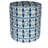 A chic, blue pouffe or small footstool in a modern African fabric.