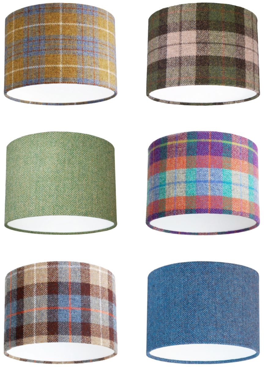 A selection of colourful herringbone tweed and tartan drum lampshades.