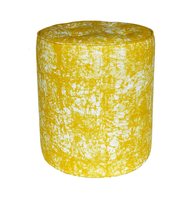 A smart yolk yellow pouffe from a modern African print studio.