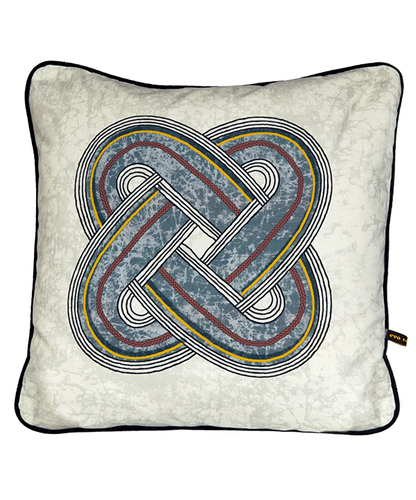 Blue grey cushion covers with traditional Yoruba African knot design.