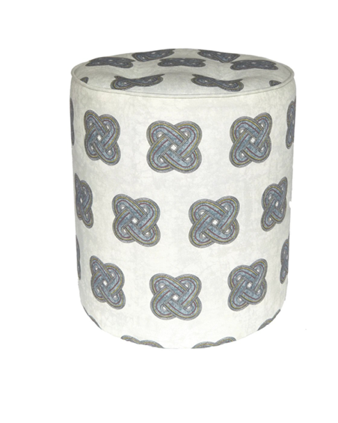 A chic, grey patterned footstool with an African knot design.