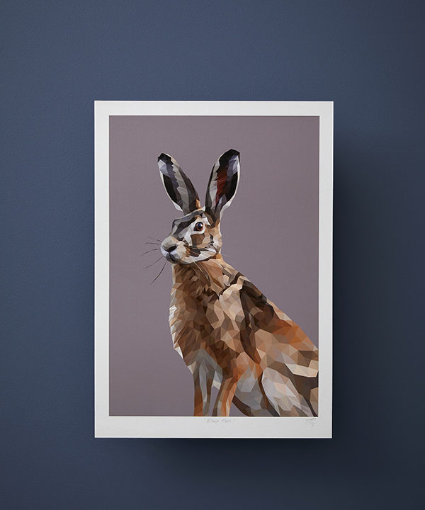 A digital hare print set against a deep blue wall.