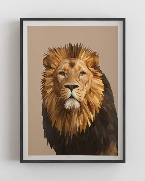 Lion wall art print fine art Giclée, digitally-rendered and hand-finished with gold leaf.