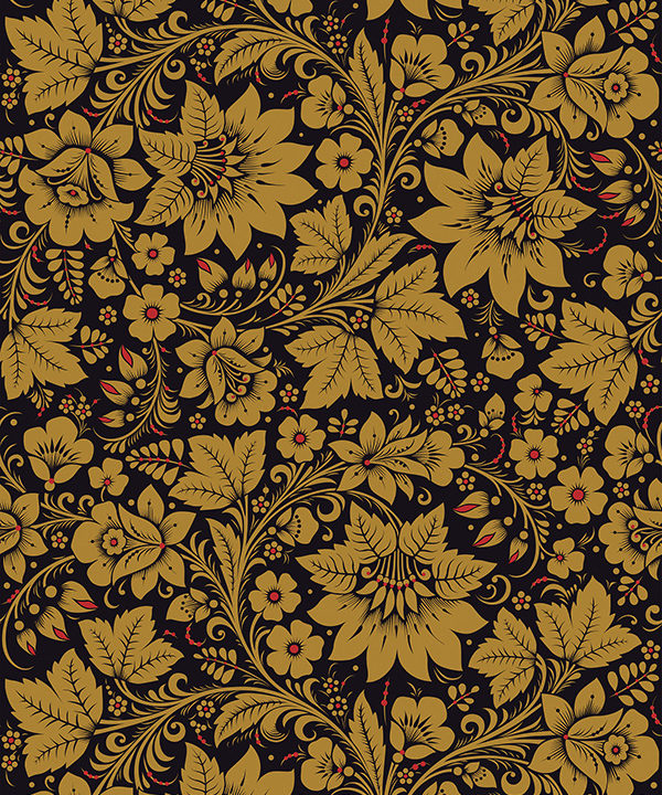 A folk wallpaper depicting flowers and leaves in the Russian Khokhloma style.
