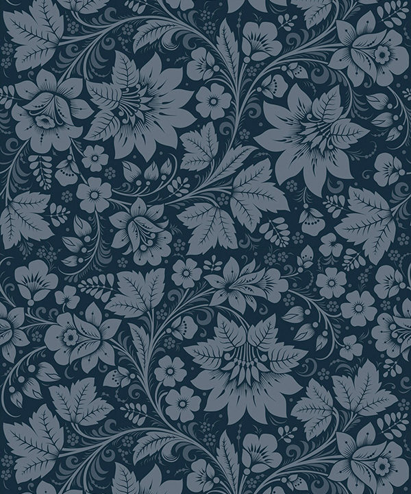 Floral Folk style wallpaper in a dark, graphite blue hue.