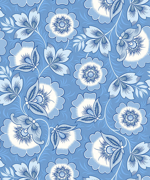 Folk art wallpaper in pretty blues derived from the traditional Russian craft of Khokhloma hand-painting on woodenware.