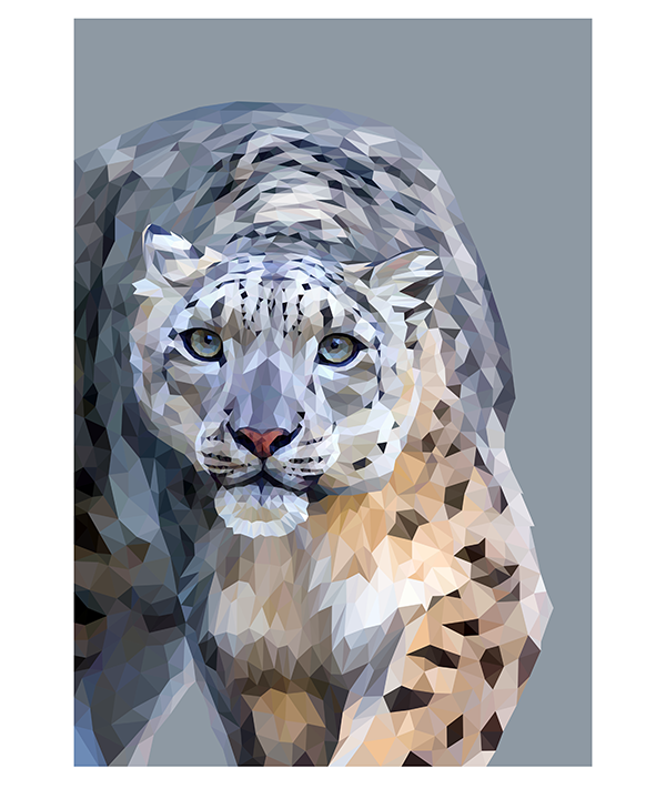 Snow leopard art as a limited edition, digital Giclée print portrait.