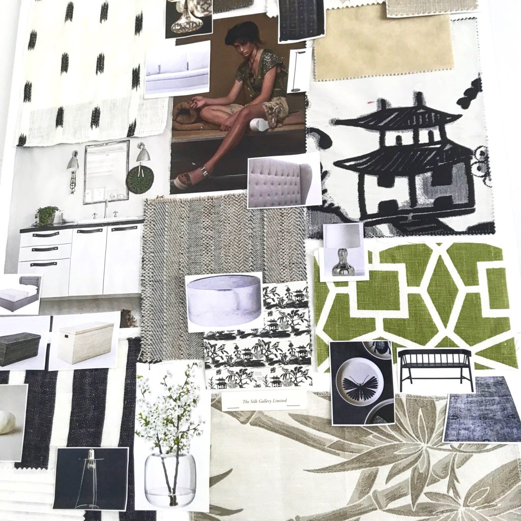 An Asian-inspired interior design moodboard in soft sage greens and monochrome - get inspired for your lockdown decorating project.