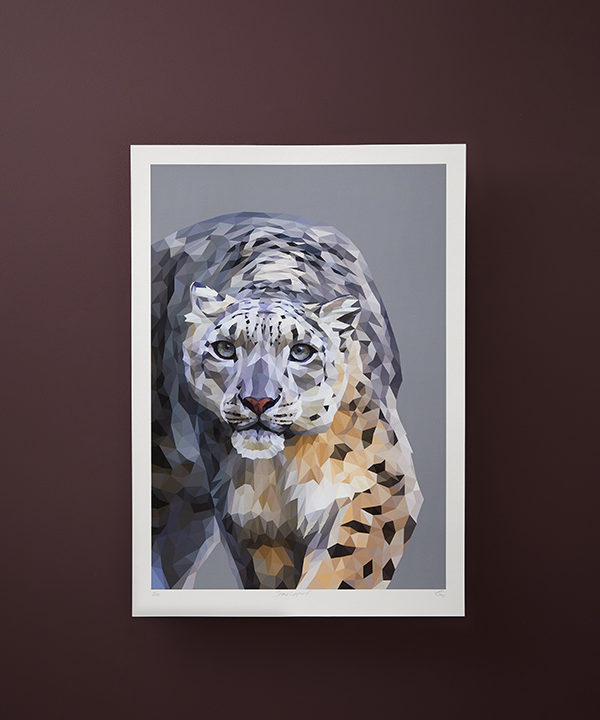 A snow leopard print created as a digital fine art piece and available as a fine art Giclée print.