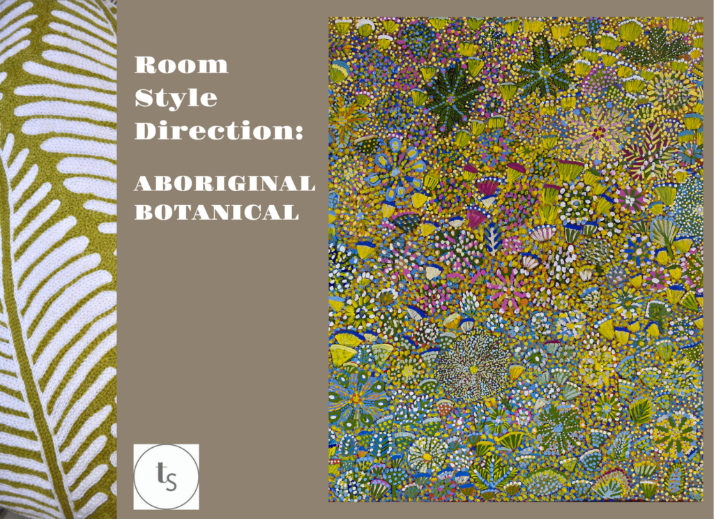 A fresh, verdant room scheme mood board inspired by an original Aboriginal art canvas painting.